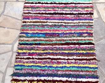 """Moroccan rug boucherouite 407 (boucharouette) 67 x 33"""""""