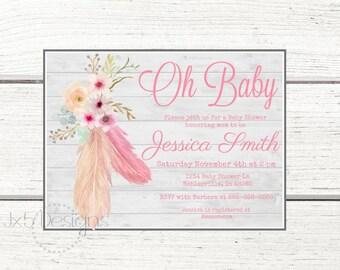 Boho Feather Baby Shower Invitation