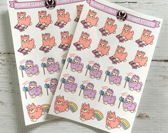 Planner Llamas Sticker Sheets ( Kawaii llama Cute alpaca stickers ) (Pack of 2)