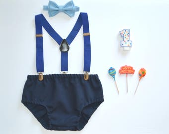 Blue Cake Smash Outfit Boy -- First Birthday Outfit Boy -- Royal Blue Suspenders & Baby Blue Bow Tie with Navy Diaper Cover