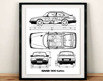 Blueprint etsy saab 900 turbo blueprint saab 900 decor blueprint art instant download saab malvernweather Choice Image