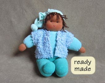 Waldorf doll 'Loetje'. Doll for children, natural material, length: 35 cm (13.8 inches) (KL025)