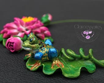 Water Lily necklace /Frog necklace / Lotus necklace / Floral necklace / Choker necklace / Statement necklace /Polymer clay necklace