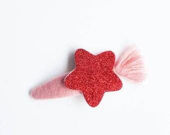 """Fermaglio per capelli """"Glitter"""" fatto a mano. ROSSO"""