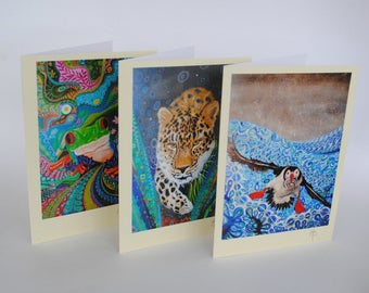 Art Nouveau Tree of Life Pagan Animal Colorful Greeting Card Selection Pack of 3 Folk and Mindfulness Art suitable for any occasion