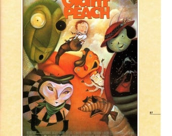 """50% Off Estate Sale Vintage Disney Poster Print, 1996, James and the Giant Peach, Item 105 11"""" x 14"""" Frameable Picture, Wall Art"""