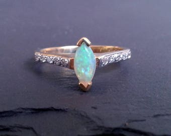 Marquise Opal & Diamond Engagement Ring
