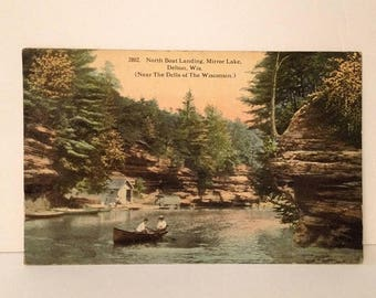 ON SALE 1913 Delton Wisconsin WI Mirror Lake Dells Early 1900's Old Vintage Antique Postcard
