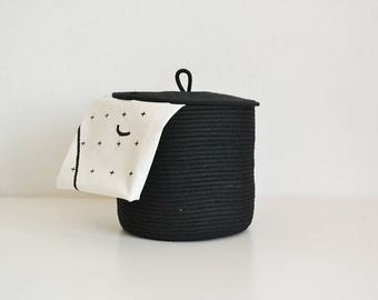 Storage basket, Rope basket, pot plant basket, Black basket, Lidded basket, Basket with lid, Scandinavian basket, Minimal design  basket,