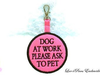 Dog At Work Please Ask To Pet Clip On Tag for Vest
