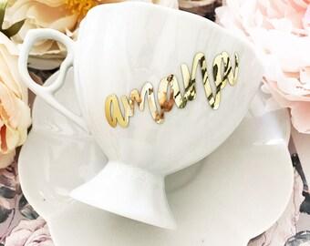 Bridesmaid Teacups - Tea Cup Favors - Tea Party Favors - Tea Party Ideas - Cup and Saucer - Personalized Tea Cup Set  (EB3263P)