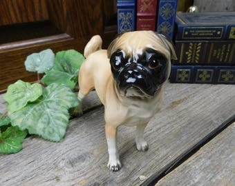Vintage Mid Century Shafford Blue Ribbon Collection Dog Figurine - Pug