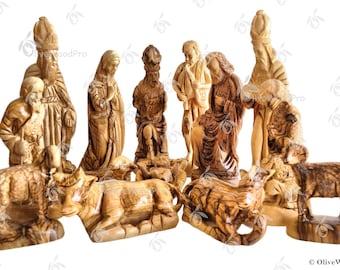 Olive wood nativity carved Christmas tree nativity set holy family 37cm - Holy land