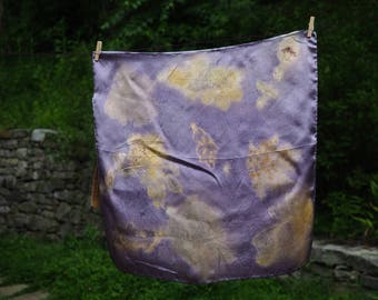 "100% Habotai Silk,  16"" x 16"" square, naturally dyed and eco-printed."