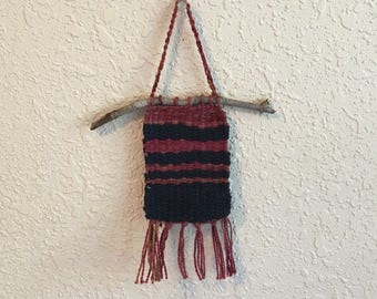 Mini Woven Wall Hanging Red and Black Hand Dyed Yarn Rustic Stripes Wall Decor