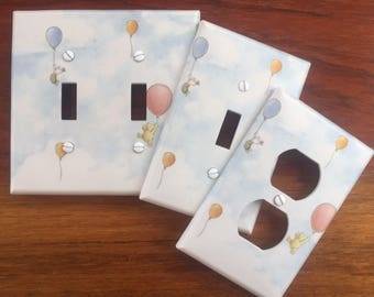 Classic Winnie the Pooh classic light switch cover baby nursery balloons // SAME DAY SHIPPING**