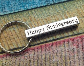 Anniversary Gift, 10 Years, Couples gift, Wedding Gift, Wedding Anniversary, Engraved Key chain, Husband Key Ring, Personalized Couples Gift