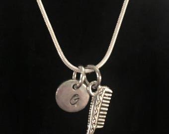 Comb Sterling Silver Necklace,  Hairdresser Sterling Silver Necklace qb153