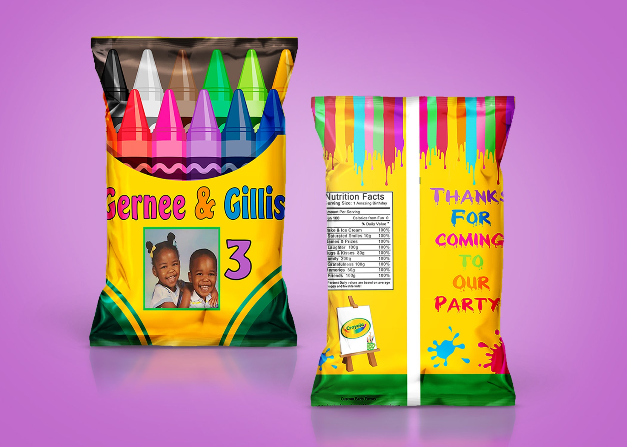 diy pdf template crayola crayon art party chip bags treat. Black Bedroom Furniture Sets. Home Design Ideas