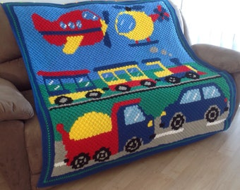 Handmade Planes, Trains And Automobiles Crochet Blanket