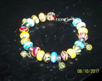Blue and Yellow European style beads with stamped 925 cores bead bracelet with glass dangling bead charms