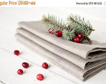 Linen napkins set 12 - Christmas napkins -Wedding napkins - Gray napkins - Organic napkin cloths - Dinner napkins - Christmas table decor