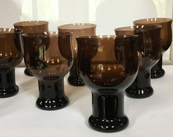 modern glass goblet set smoke brown Lenox Clarion vintage