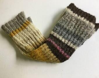 Hand made wool leg warmers natural color tones boot socks