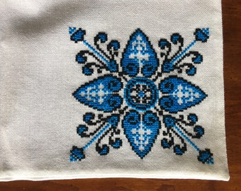 Old World Hand Embroidered Pillowcase Blue and Black Floral Pattern