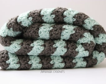 Crochet Baby Blanket | Mint Gray Blanket | Shell Wavy Blanket | Baby Boy Girl Blanket | Baby Shower Gift | Crochet Blanket | Bedding