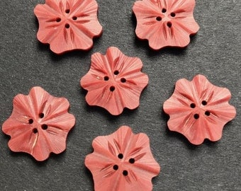 """1 pink flower button English early plastic vintage button 1940's with carved edge middle  17 mm or  7/10 """"dia stock ref 1096"""