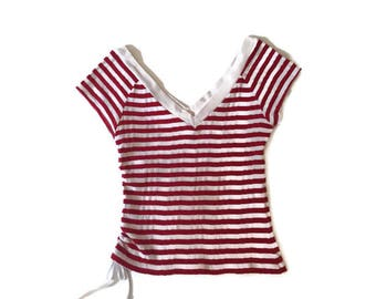 Vintage Red and White Striped Top