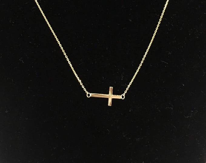 Adriana Sideways Cross Choker in 14k gold