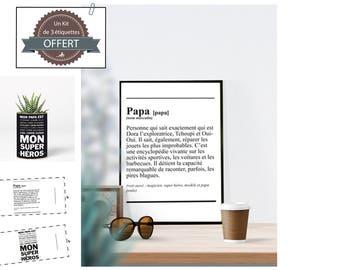 Fichier numérique A4 - Affiche Papa - définition papa, père, fête, anniversaire, cadeau - B