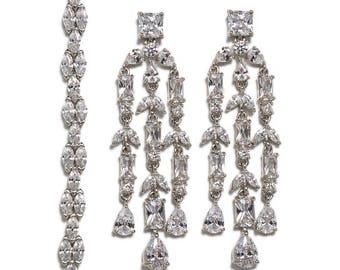 Wedding Jewelry Set,Silver Bracelet and Earring set, Bridal Jewelry, Bridal Accessories Silver Wedding Jewelry E141+B249