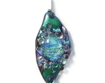 Dichroic Glass Pendant, Fused glass pendant, Dichroic glass jewelry, Fused glass necklace, Dichroic jewelry, fused glass pendant, unique