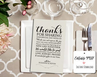 Wedding Thank You Printable Template, Printable Thank you, Thank You Card Template, Wedding Printable, PDF Instant Download