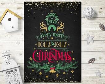 Christmas Cards Printable, Christmas Cards Instant Download, Holly Jolly Christmas Card, Holly Jolly Christmas Sign, Holly Jolly Christmas