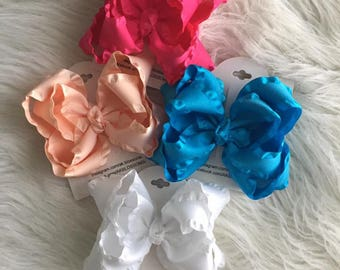 Double Ruffle Stacked Bow | Girls Double Stacked Boutique Bow