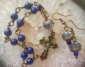 Lovely Wire Wrapped Navy Blue Rosary Bracelet Set. Take Your Rosary Wherever You Go!