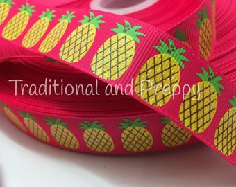 3 yards Preppy Glitter Pineapple on Hot pink grosgrain