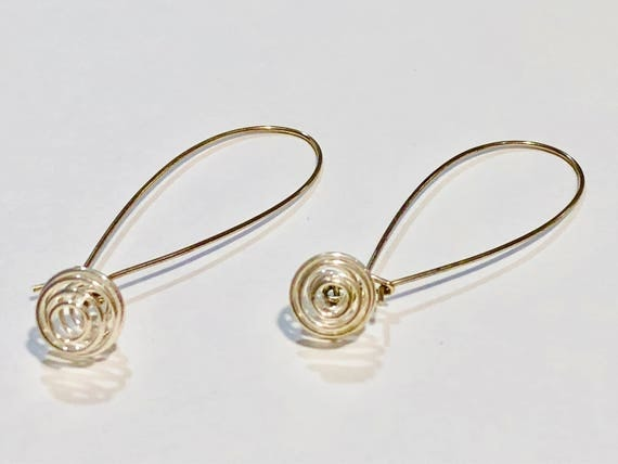Silver plated round spiraled wire earrings