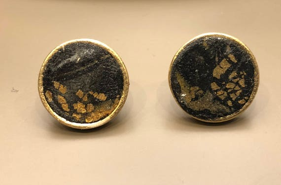 Earrings - contemporary handmade black/gold polymer clay silver color metal studs