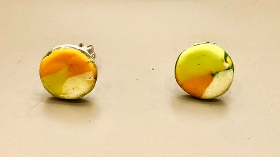 Earrings - contemporary handmade lime green/orange/cream polymer clay sterling silver studs