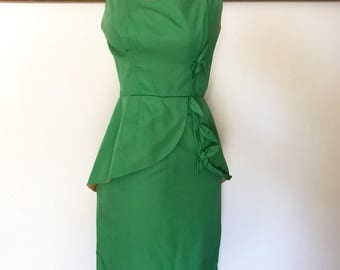 Vintage tiki green pencil dress 50s 60s retro pin up