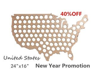 """United States Beer Cap Map USA ,Unique Christmas Gift , Beer Cap Holder Beer Cap Display Gift for Him Wedding Gift Fathers Day - 24""""x16"""""""
