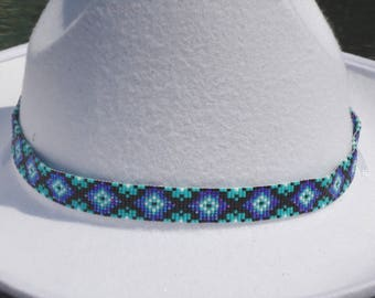 Beaded hat band, seed bead hatbands, accessories, western hat band, Native American inspired, loomed hat band, southwestern, boho