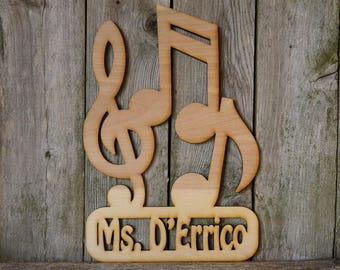 Music Teacher Personalized Name wood cut sign