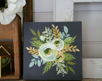 Floral handpainted decor - Charcoal grey background