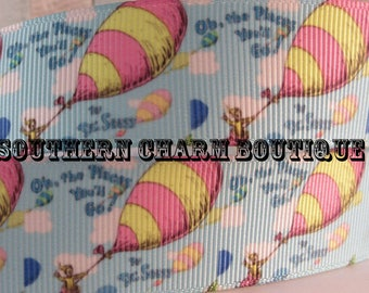 "3 yards of 1"" oh the places grosgrain ribbon"